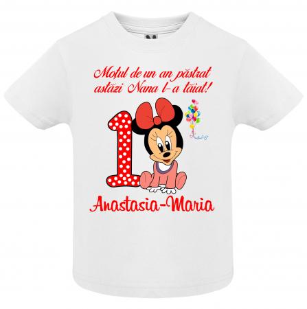 """Set de 5 tricouri aniversare pentru nasi,parinti si copil, personalizate cu nume,varsta si mesaj""""Motul de un an pastrat astazi nana l-a taiat"""" [3]"""