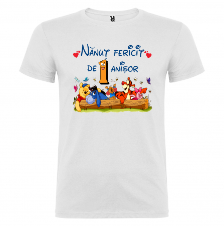 "Set de 5 tricouri aniversare pentru nasi,parinti si copil, personalizate cu nume,varsta si mesaj""Bestiuta"" [5]"