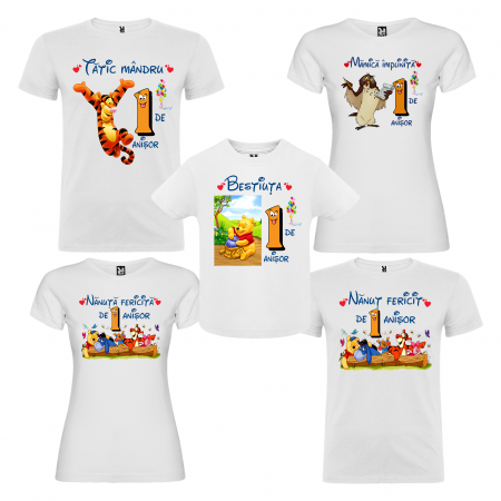 "Set de 5 tricouri aniversare pentru nasi,parinti si copil, personalizate cu nume,varsta si mesaj""Bestiuta"" [0]"