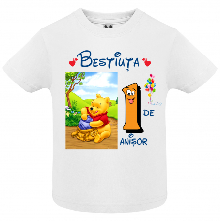 "Set de 5 tricouri aniversare pentru nasi,parinti si copil, personalizate cu nume,varsta si mesaj""Bestiuta"" [1]"