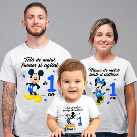 "Set de 5 tricouri aniversare pentru nasi,parinti si copil ""Am un anisor si scap de motisor,Mickey"" [1]"