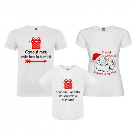 Set 2 tricouri personalizate primul Craciun la mami in burtica [3]