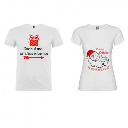Set 2 tricouri personalizate primul Craciun la mami in burtica [2]