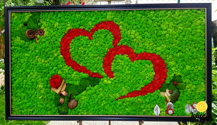 Tablou licheni, muschi, elemtente naturale stabilizate, trandafiri criogenati, dimensiune 60 x 100 cm [2]
