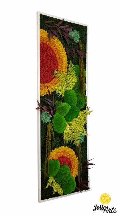 Tablou licheni, muschi si plante stabilizate, Model Soare, design vertical, Jolie Arts [0]