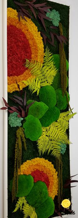 Tablou licheni, muschi si plante stabilizate, Model Soare, design vertical, Jolie Arts [4]