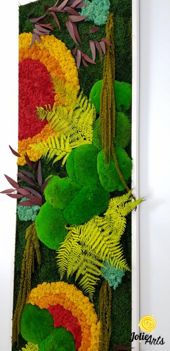 Tablou licheni, muschi si plante stabilizate, Model Soare, design vertical, Jolie Arts [5]