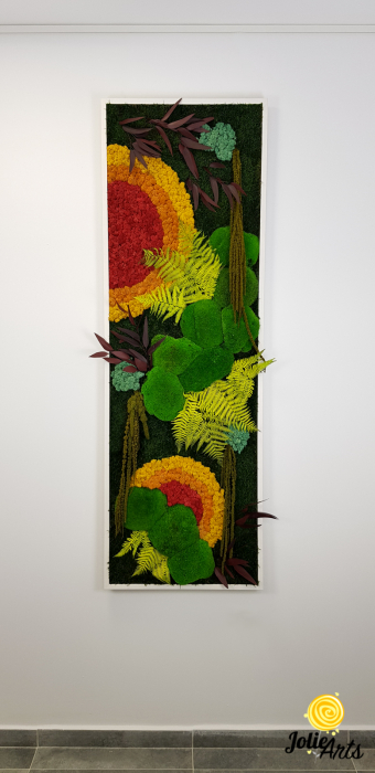 Tablou licheni, muschi si plante stabilizate, Model Soare, design vertical, Jolie Arts [2]