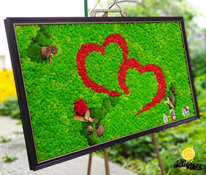 Tablou licheni, muschi, elemtente naturale stabilizate, trandafiri criogenati, dimensiune 60 x 100 cm [1]