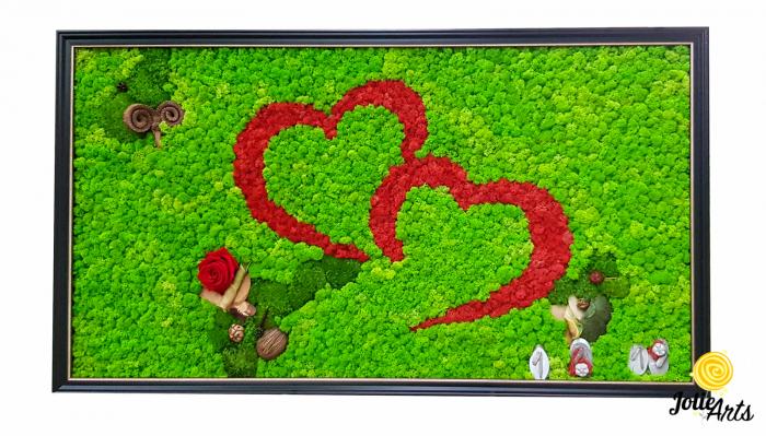 Tablou licheni, muschi, elemtente naturale stabilizate, trandafiri criogenati, dimensiune 60 x 100 cm [0]