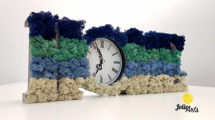 Ceas de perete decorat cu licheni naturali Jolie Arts, 40 x 15 cm [0]