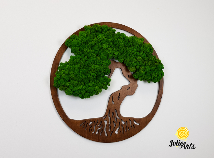 Copacul vietii decorat cu licheni naturali stabilizati, suport culoare maro [3]