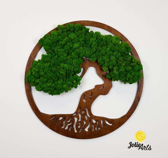 Copacul vietii decorat cu licheni naturali stabilizati, suport culoare maro [2]