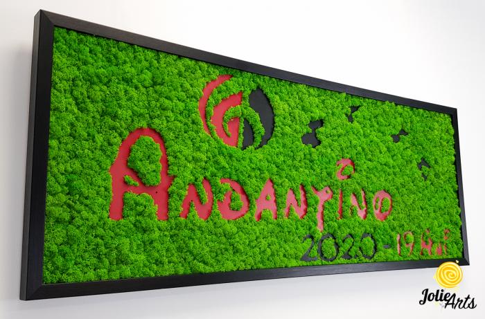 Logo Andantino, dimensiune 40 x 100 cm,  licheni naturali stabilizati, Jolie Arts, www.tablouriculicheni.ro-2 [3]