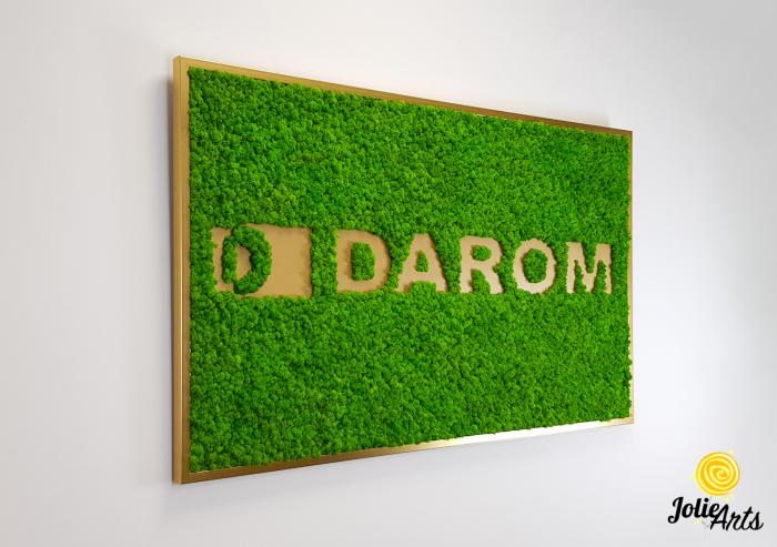 Logo cu licheni naturali stabilizati, culoare verde deschis, dimensiune 80 x 130 cm, Jolie Arts, www.tablouriculicheni.ro-2 [3]