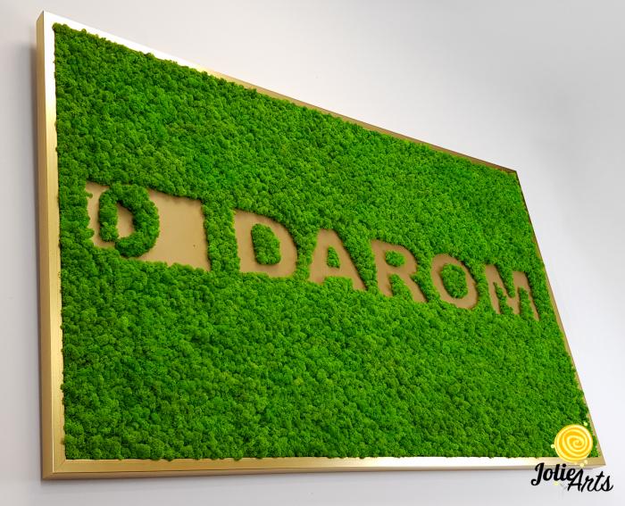 Logo cu licheni naturali stabilizati, culoare verde deschis, dimensiune 80 x 130 cm, Jolie Arts, www.tablouriculicheni.ro-2 [1]