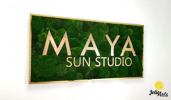 Logo Maya, dimensiune 60 x 120 cm,  muschi bombati verde inchis, Jolie Arts, www.tablouriculicheni.ro-7 [3]