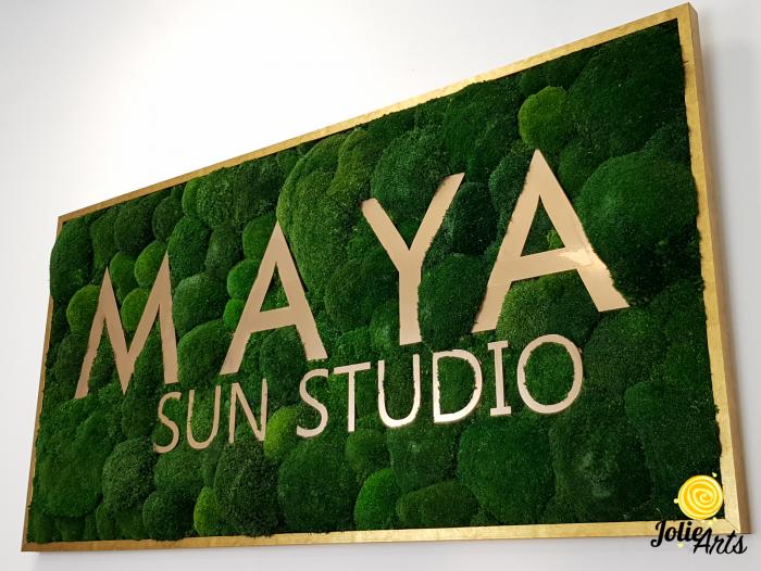 Logo Maya, dimensiune 60 x 120 cm,  muschi bombati verde inchis, Jolie Arts, www.tablouriculicheni.ro-7 [4]
