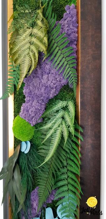 Model Amazon, insertii purple, rama patinata maro cu insertii aurii, 40 x 150 cm, tablou licheni, Jolie Arts, www.tablouriculicheni.ro-2 [4]