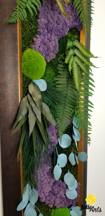 Model Amazon, insertii purple, rama patinata maro cu insertii aurii, 40 x 150 cm, tablou licheni, Jolie Arts, www.tablouriculicheni.ro-2 [6]