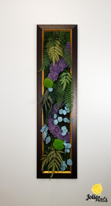 Model Amazon, insertii purple, rama patinata maro cu insertii aurii, 40 x 150 cm, tablou licheni, Jolie Arts, www.tablouriculicheni.ro-2 [2]