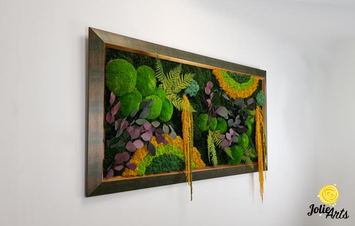 Tablou licheni, muschi si plante stabilizate, Model Curcubeu Galben, rama personalizata [4]