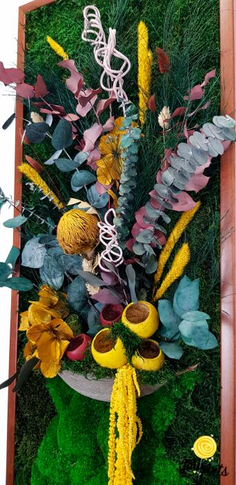 Model Flower Vase, dimensiune 40 x 100 cm, rama neagra, muschi bombati - plati si plante naturale stabilizate, Jolie Arts, www.tablouriculicheni.ro-2 [6]