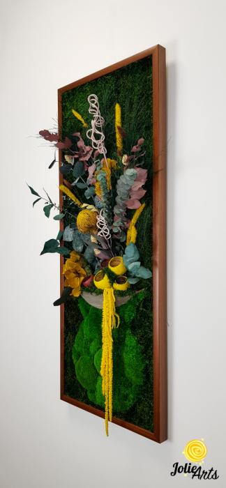 Model Flower Vase, dimensiune 40 x 100 cm, rama neagra, muschi bombati - plati si plante naturale stabilizate, Jolie Arts, www.tablouriculicheni.ro-2 [1]