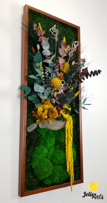 Model Flower Vase, dimensiune 40 x 100 cm, rama neagra, muschi bombati - plati si plante naturale stabilizate, Jolie Arts, www.tablouriculicheni.ro-2 [4]