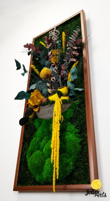 Model Flower Vase, dimensiune 40 x 100 cm, rama neagra, muschi bombati - plati si plante naturale stabilizate, Jolie Arts, www.tablouriculicheni.ro-2 [5]