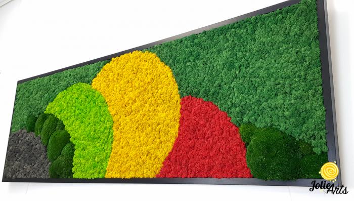Tablou licheni si muschi naturali stabilizati, Model Jamaica, dimensiune 20 x 80 cm, rama neagra-2 [4]
