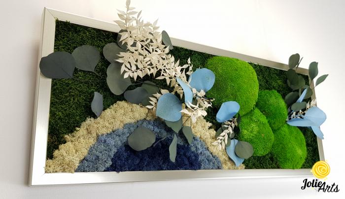 Tablou licheni, muschi si plante naturale stabilizate. Model Soare alb cu albastru, Jolie Arts, www.tablouriculicheni.ro-2 [4]