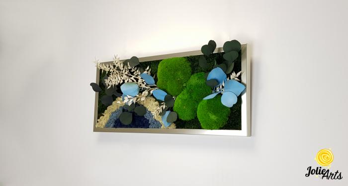 Tablou licheni, muschi si plante naturale stabilizate. Model Soare alb cu albastru, Jolie Arts, www.tablouriculicheni.ro-2 [1]