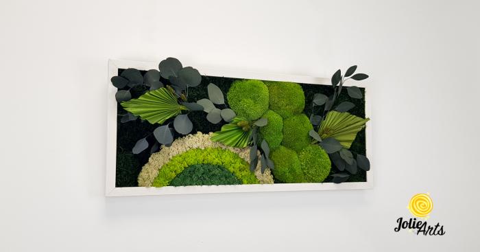 Tablou licheni, muschi si plante naturale stabilizate Jolie Arts, model Soare Alb, rama argintie, 40 x 100 cm, www.tablouriculicheni.ro-3 [3]