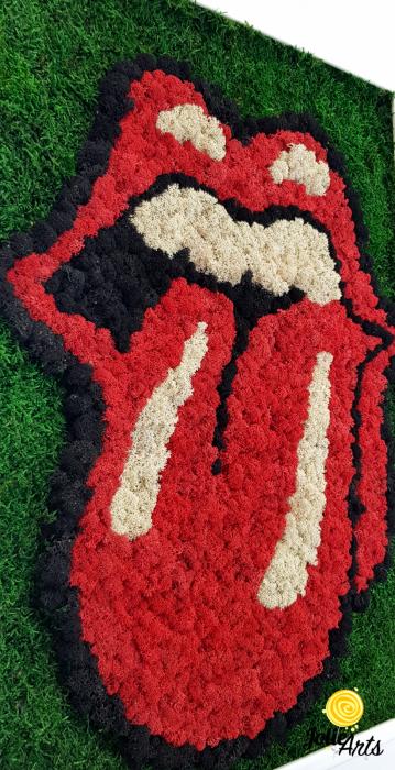 Rolling Stones Logo cu licheni si muschi naturali stabilizati [5]