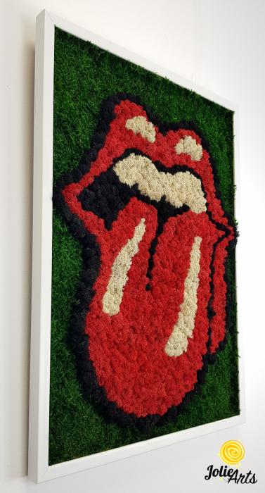 Rolling Stones Logo cu licheni si muschi naturali stabilizati [3]