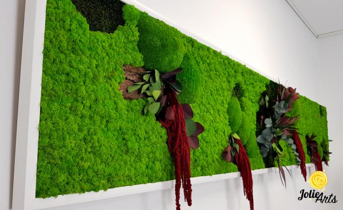 Tablou licheni, muschi si plante naturale stabilizate, Jolie Arts, Model Amaranthus Rosu [5]