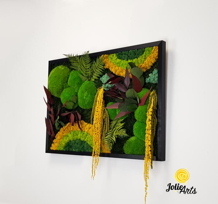 Tablou licheni, muschi si plante naturale stabilizate Jolie Arts, Model Curcubeu Galben [1]