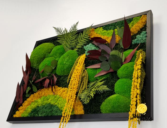 Tablou licheni, muschi si plante naturale stabilizate Jolie Arts, Model Curcubeu Galben [5]
