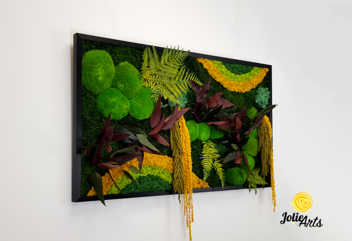 Tablou licheni, muschi si plante naturale stabilizate Jolie Arts, Model Curcubeu Galben [3]