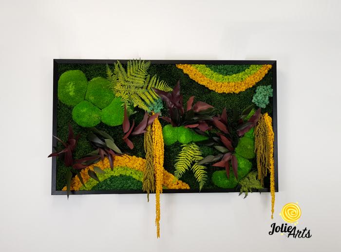 Tablou licheni, muschi si plante naturale stabilizate Jolie Arts, Model Curcubeu Galben [2]