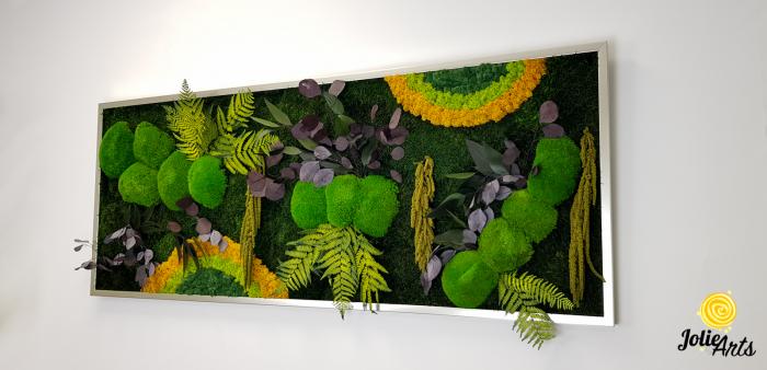 Tablou licheni, muschi si plante naturale stabilizate, Model Curcubeu cu galben, dimensiune 60 x 180, Jolie Arts, www.tablouriculicheni.ro-3 [1]