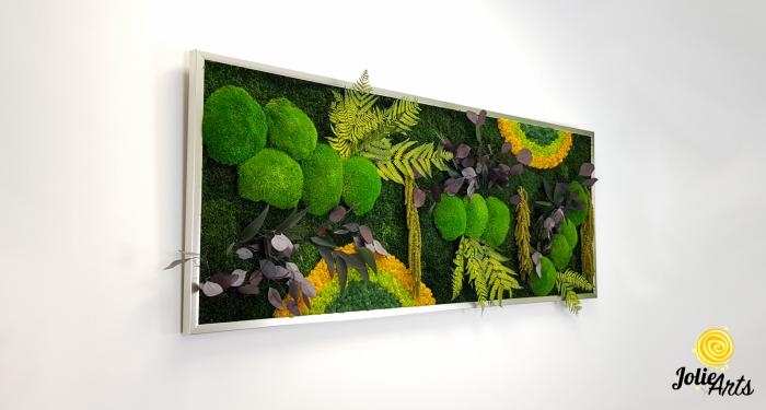 Tablou licheni, muschi si plante naturale stabilizate, Model Curcubeu cu galben, dimensiune 60 x 180, Jolie Arts, www.tablouriculicheni.ro-3 [0]