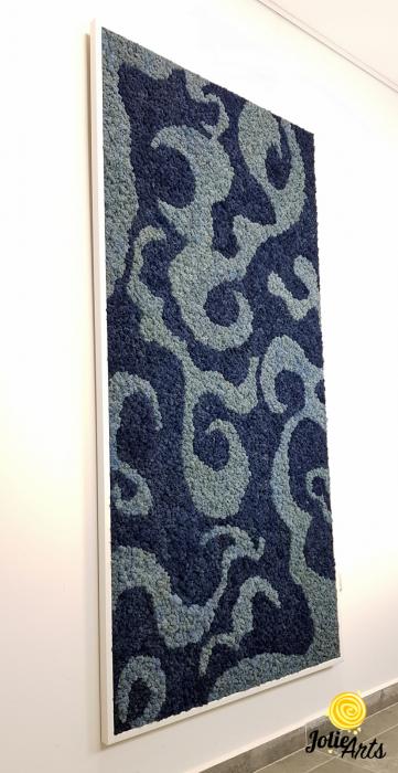 Tablou licheni naturali stabilizati, doua nuante de albastru [3]