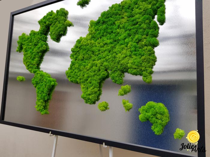 Tablou licheni naturali stabilizati, harta lumii, Joie Arts, dimensiune 60 x 90 cm [2]