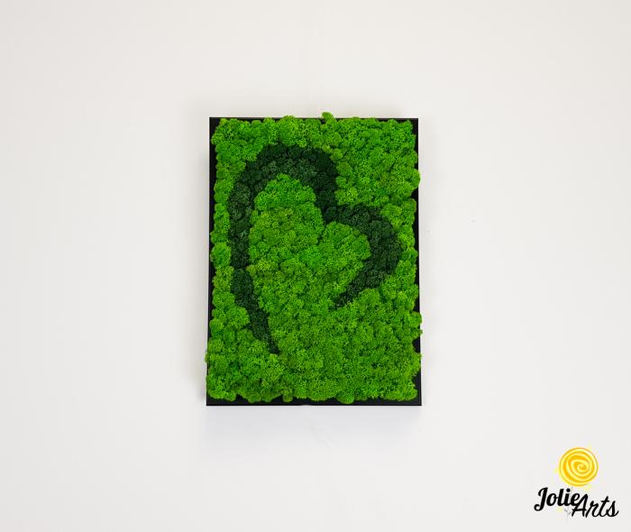 Tablou licheni naturali stabilizati Jolie Arts, model inima stilizata, doua nuante de verde [2]