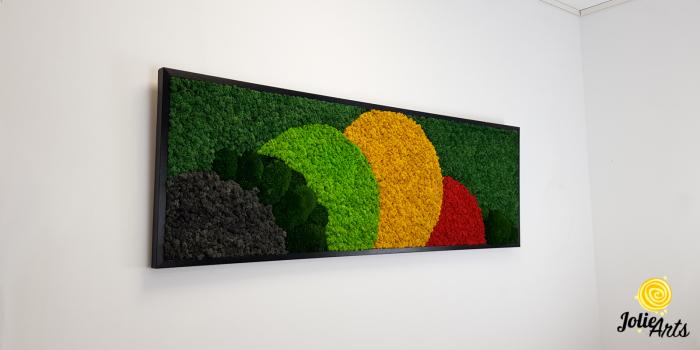 Tablou licheni si muschi naturali stabilizati, Model Jamaica, dimensiune 50 x 150 cm, rama neagra-2 [2]