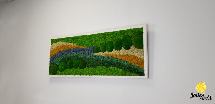 Tablou licheni, tablou muschi de padure, plante stabilizate, Jolie Arts, Model White Pacific [3]