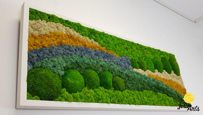 Tablou licheni, tablou muschi de padure, plante stabilizate, Jolie Arts, Model White Pacific [4]