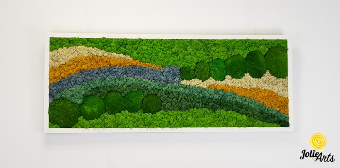 Tablou licheni, tablou muschi de padure, plante stabilizate, Jolie Arts, Model White Pacific [2]
